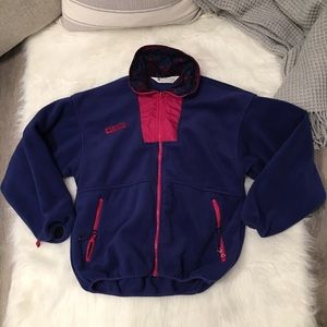 Columbia Blue Vintage Retro Full Zip Fleece Jacket